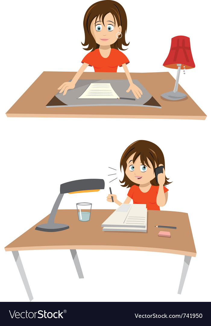 Woman at desk vector | Price: 3 Credit (USD $3)