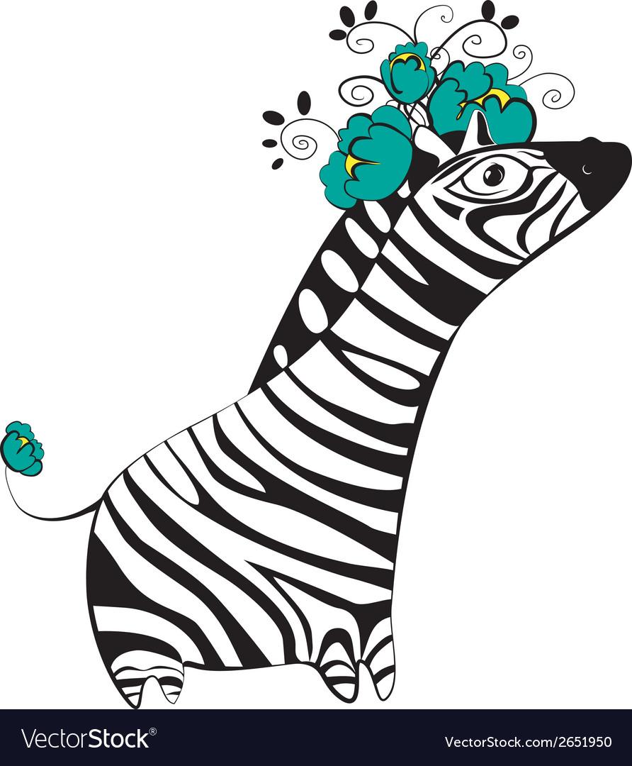 Zebra with flowers vector   Price: 1 Credit (USD $1)