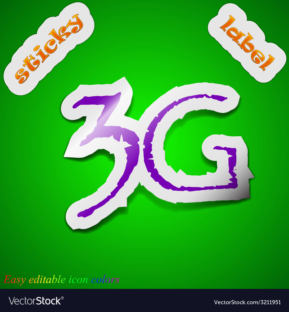 3g technology icon sign symbol chic colored sticky vector | Price: 1 Credit (USD $1)