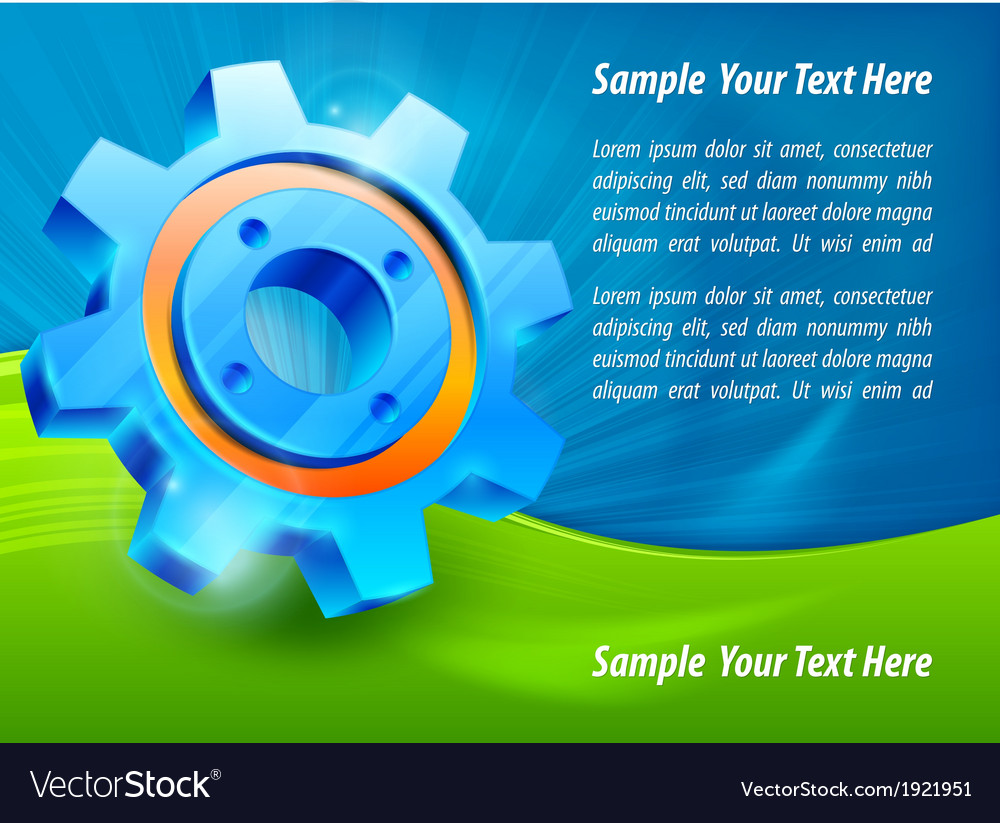 Blue gear  text vector | Price: 1 Credit (USD $1)