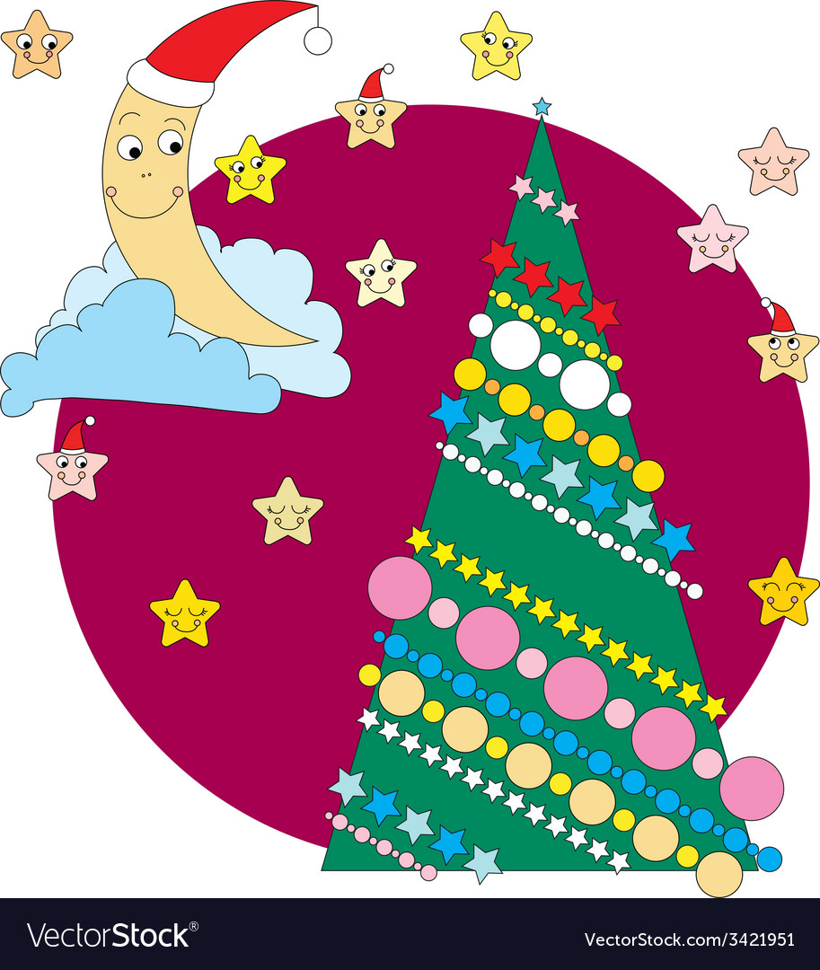 Crescent christmas tree and stars vector | Price: 1 Credit (USD $1)