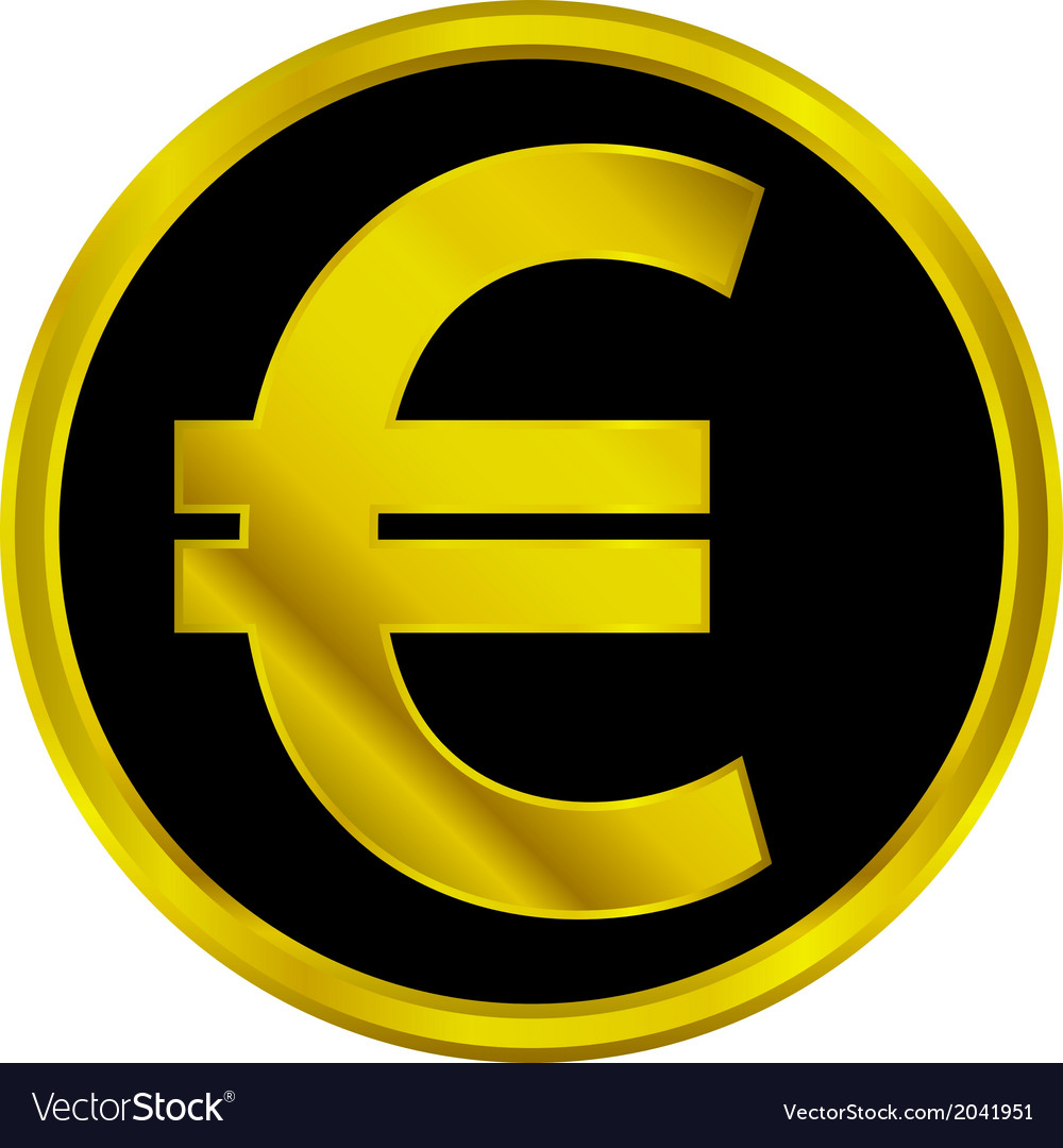 Euro sign button vector | Price: 1 Credit (USD $1)