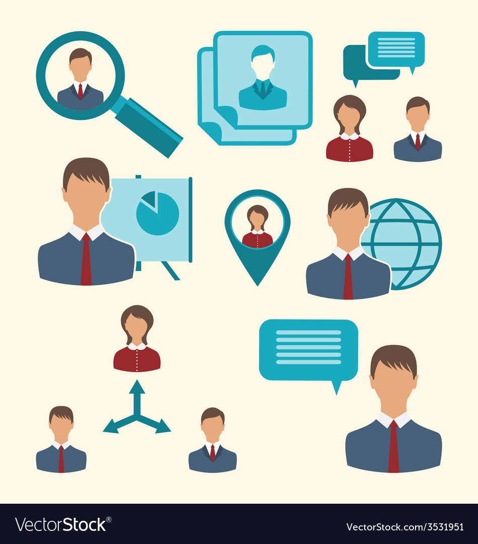 Flat icons of business people showing presentation vector | Price: 1 Credit (USD $1)