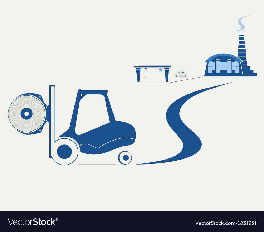Forklift transporting roll of paper vector | Price: 1 Credit (USD $1)