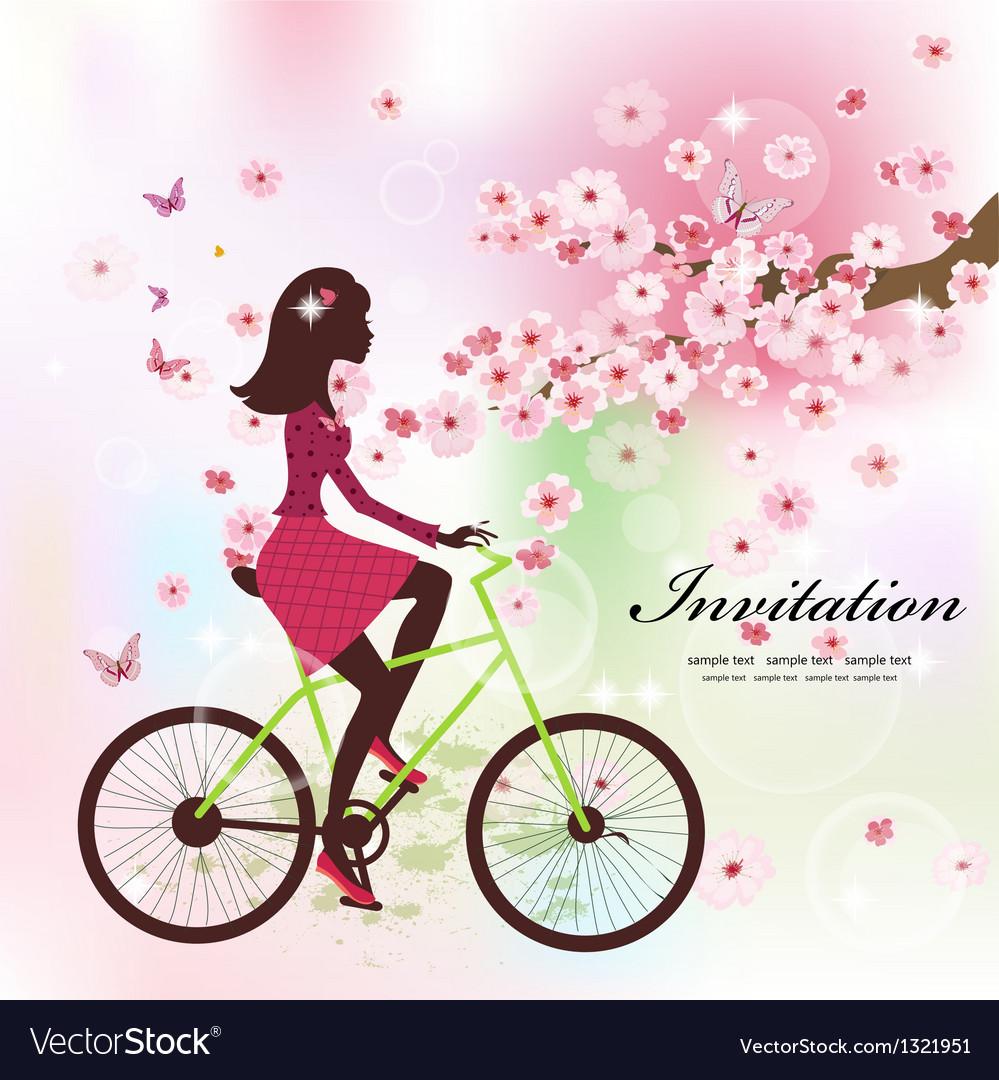 Girl bike card vector | Price: 1 Credit (USD $1)