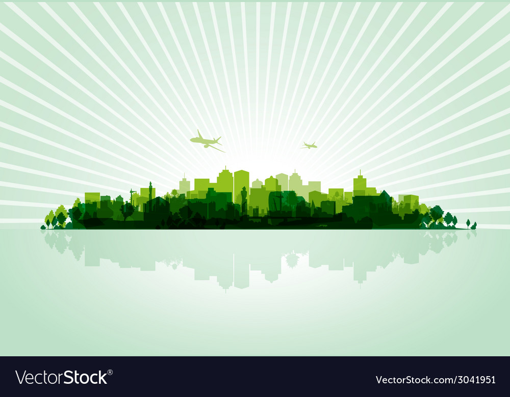 Green cityscape vector | Price: 1 Credit (USD $1)