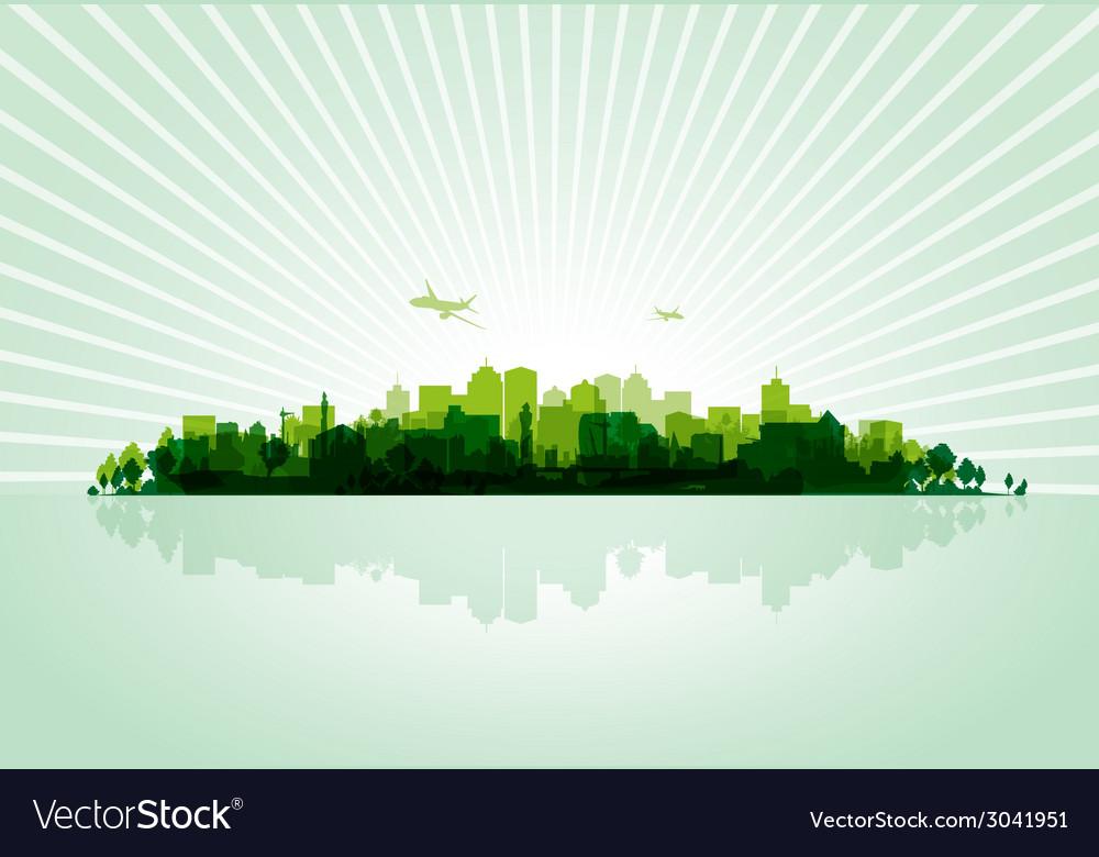Green cityscape vector   Price: 1 Credit (USD $1)