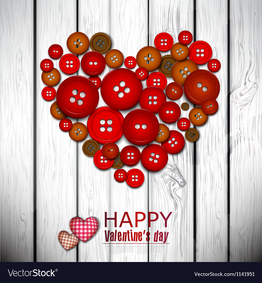 Red heart made from red buttons valentines day vector | Price: 1 Credit (USD $1)