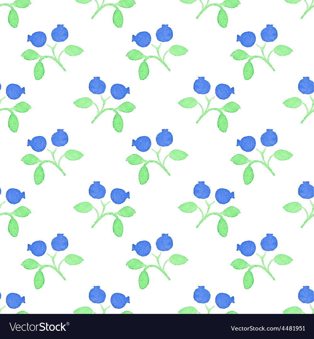 Seamless watercolor pattern with blueberries on vector | Price: 1 Credit (USD $1)