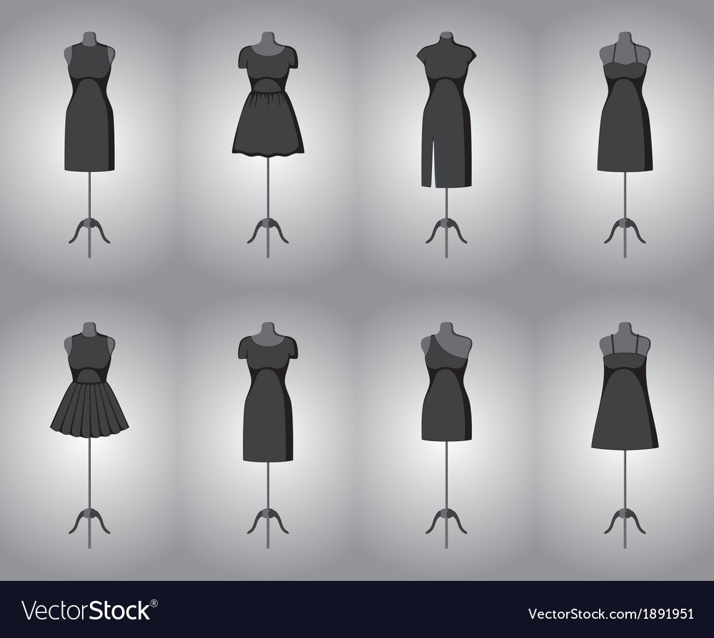 Set of woman little black dresses vector | Price: 1 Credit (USD $1)
