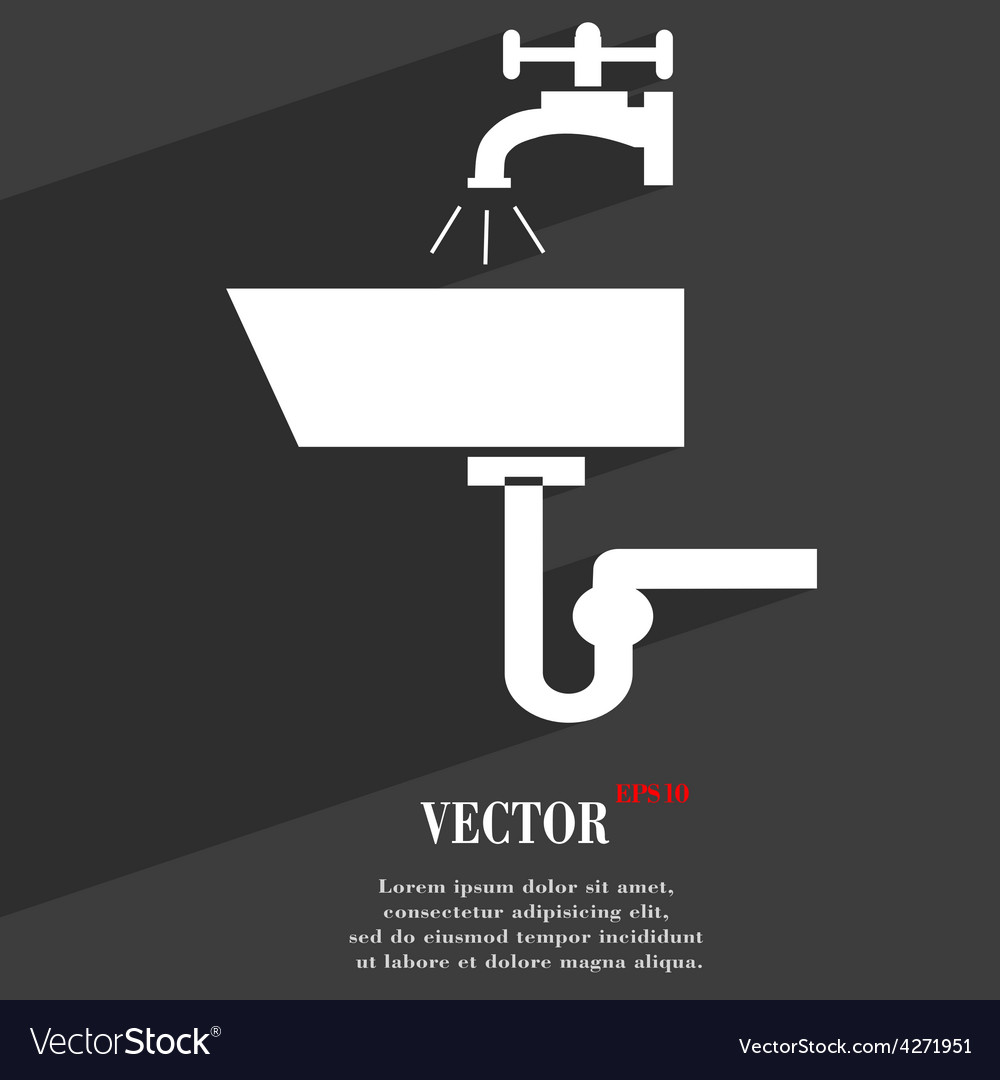 Washbasin icon symbol flat modern web design with vector | Price: 1 Credit (USD $1)