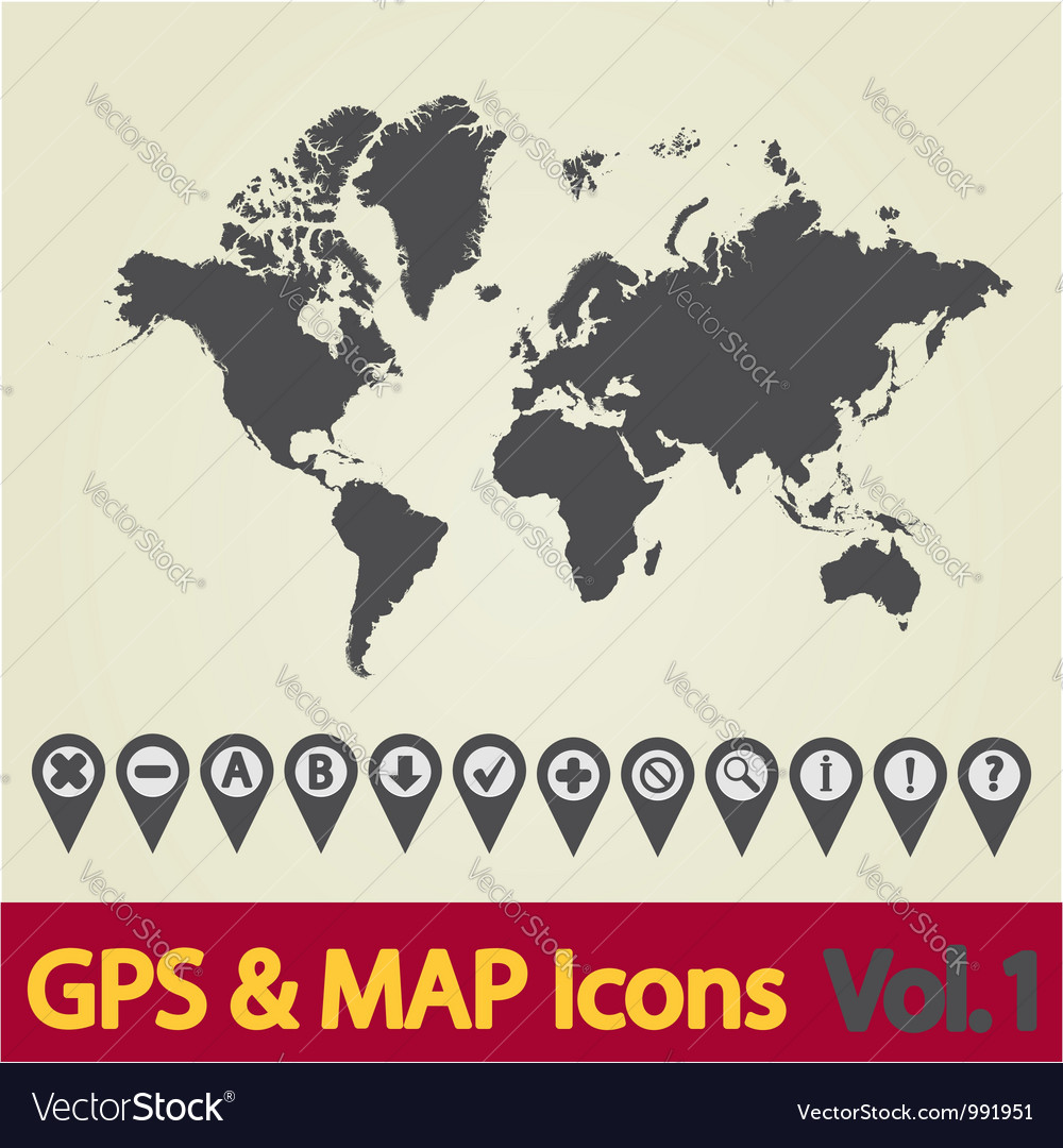 World map gps vector | Price: 1 Credit (USD $1)