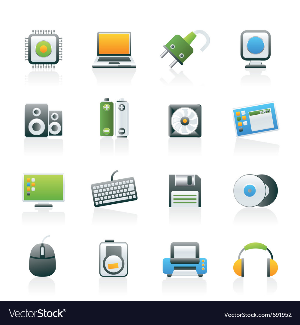 Computer items and accessories icons vector | Price: 1 Credit (USD $1)