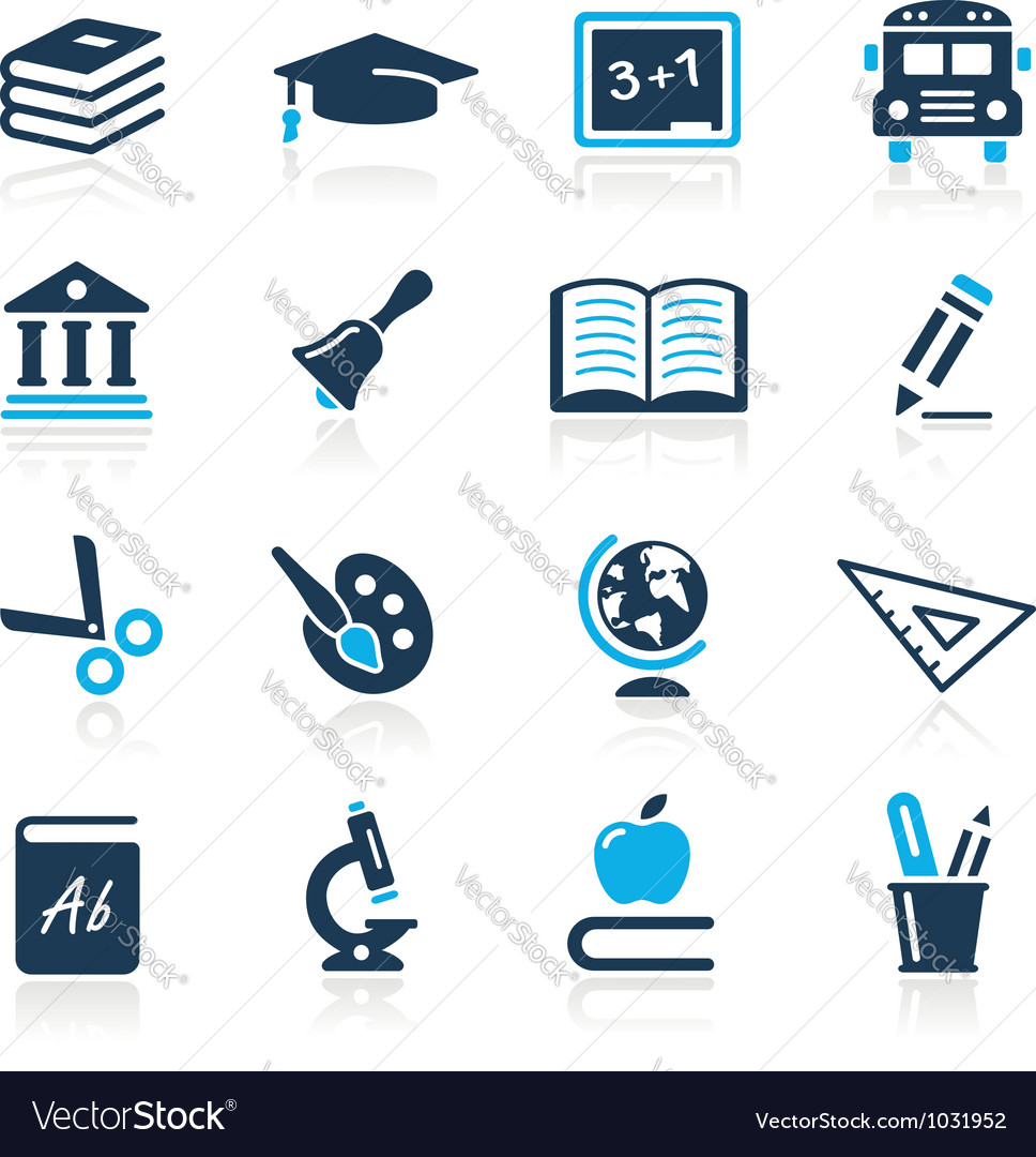 Education icons azure series vector | Price: 1 Credit (USD $1)
