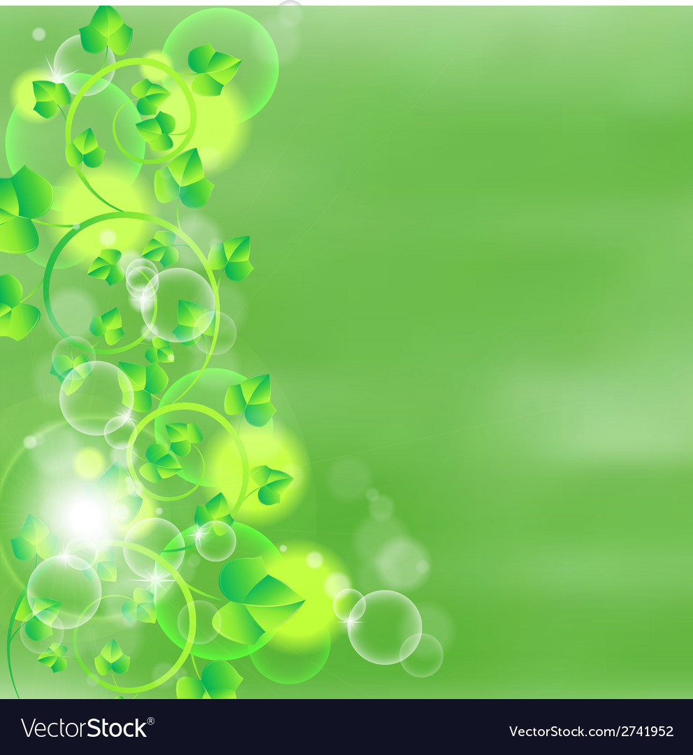 Green leaves on watercolor background vector | Price: 1 Credit (USD $1)