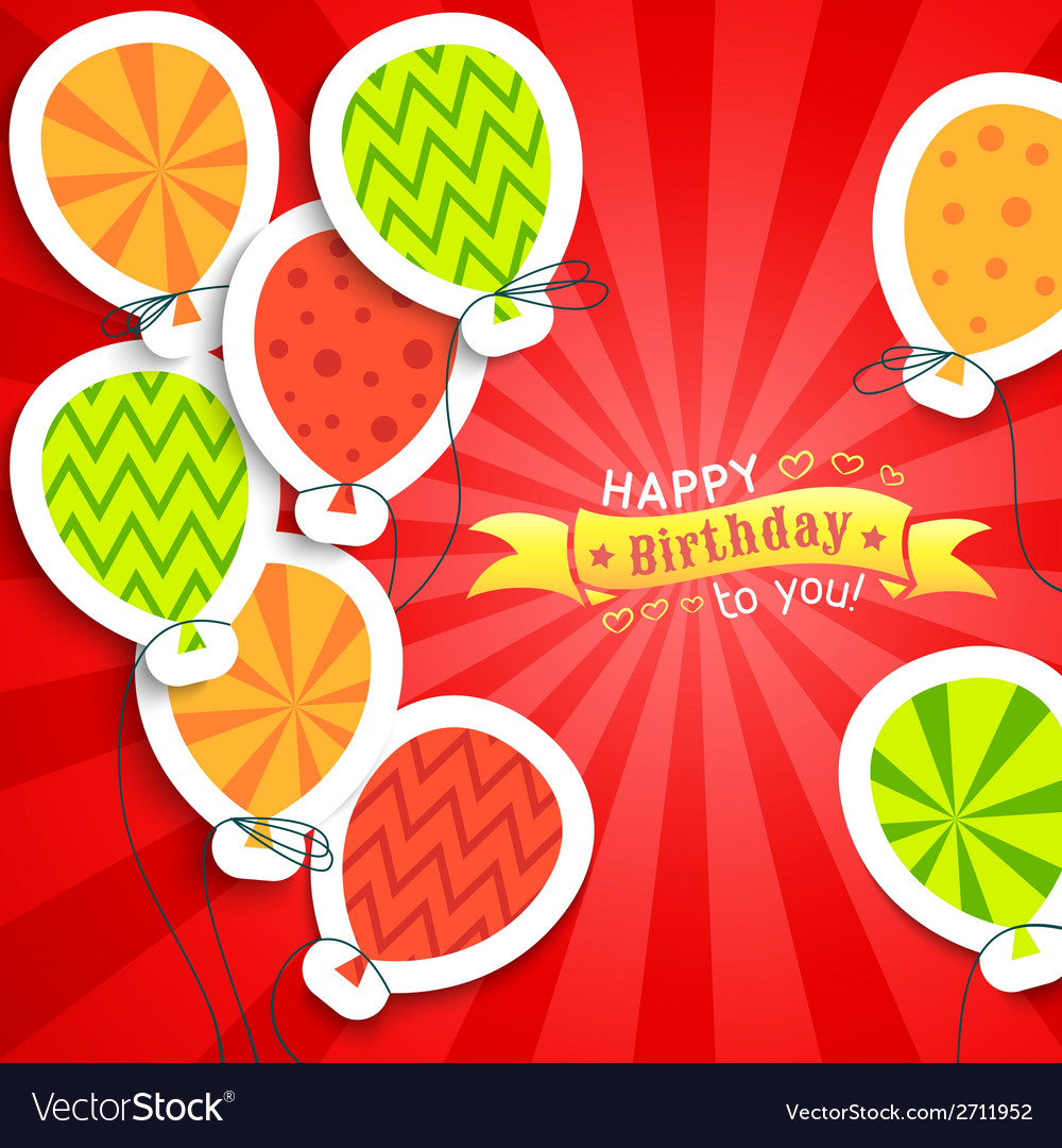 Happy birthday funny postcard with balloons vector | Price: 1 Credit (USD $1)