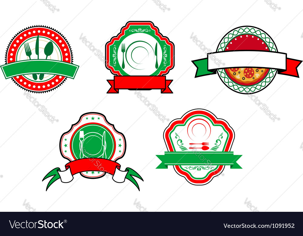 Italian food banners and labels vector | Price: 1 Credit (USD $1)