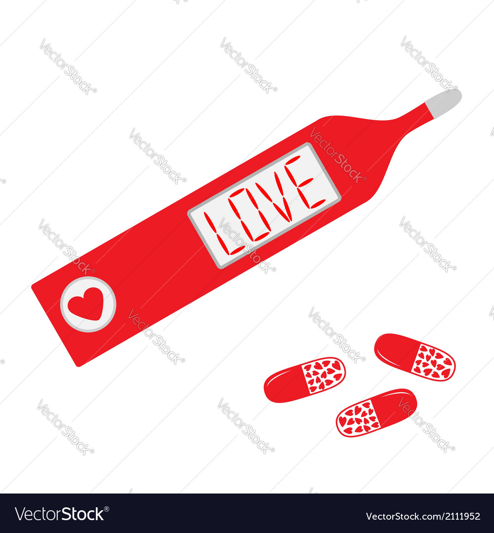 Thermometer with word love on display and heart pi vector | Price: 1 Credit (USD $1)