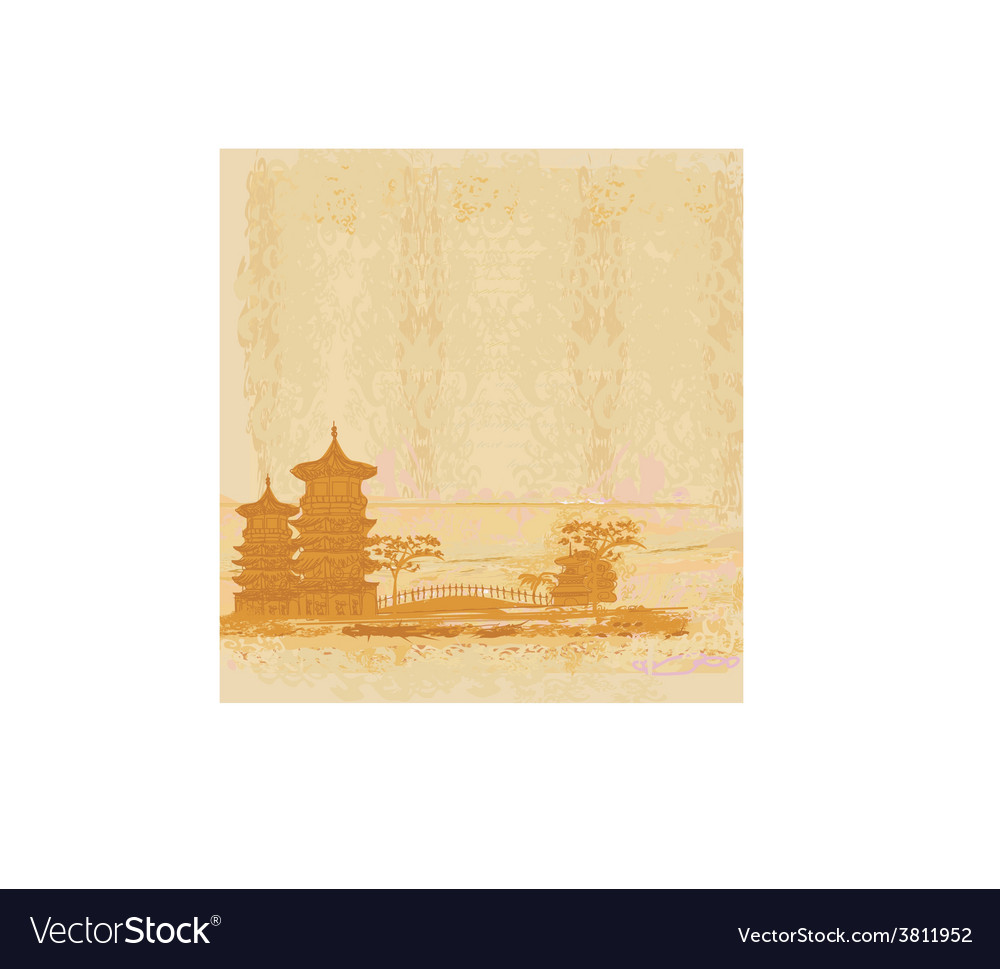 Old paper with chinese old building on abstract vector | Price: 1 Credit (USD $1)