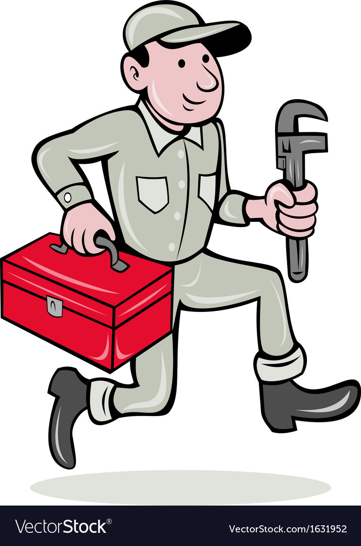 Plumber with monkey wrench and toolbox vector | Price: 1 Credit (USD $1)