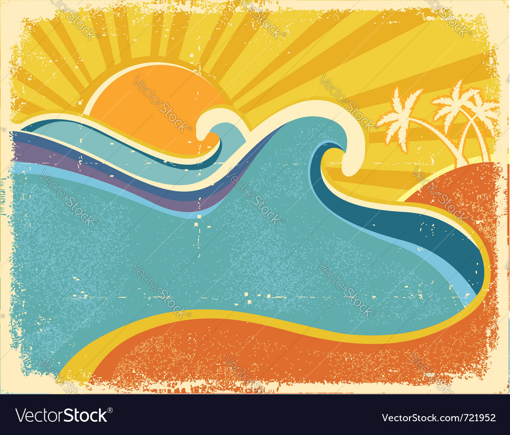 Sea waves poster vector | Price: 1 Credit (USD $1)