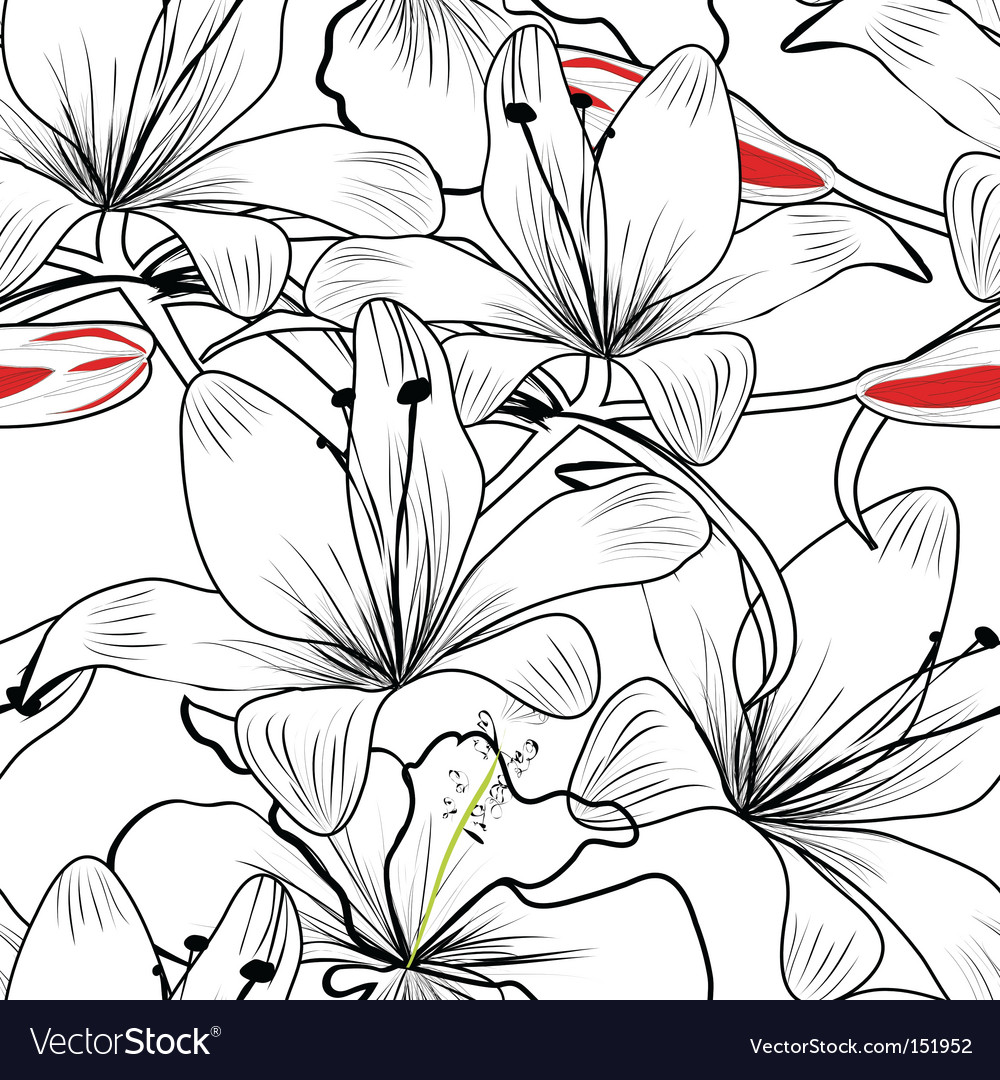 Seamless pattern with white lily vector | Price: 1 Credit (USD $1)