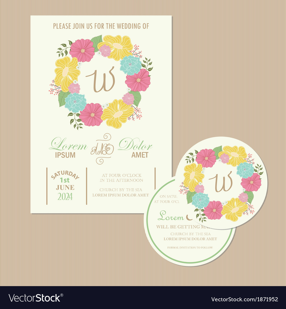 Set of wedding invitation cards vector | Price: 1 Credit (USD $1)