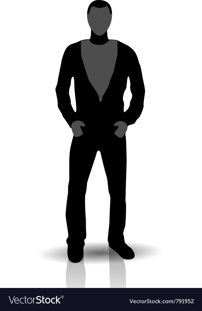 Silhouette of young man in jeans vector | Price: 1 Credit (USD $1)