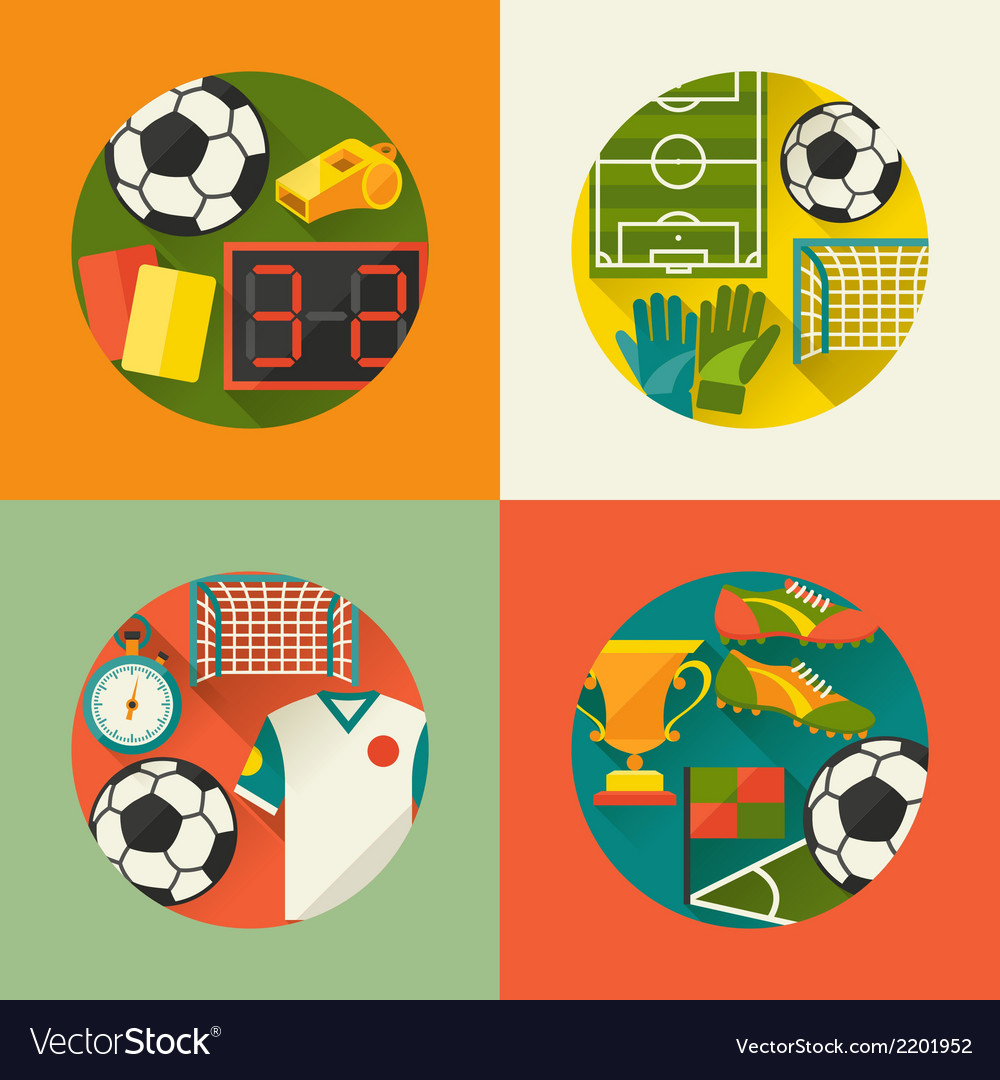 Sports backgrounds with soccer football flat icons vector | Price: 1 Credit (USD $1)