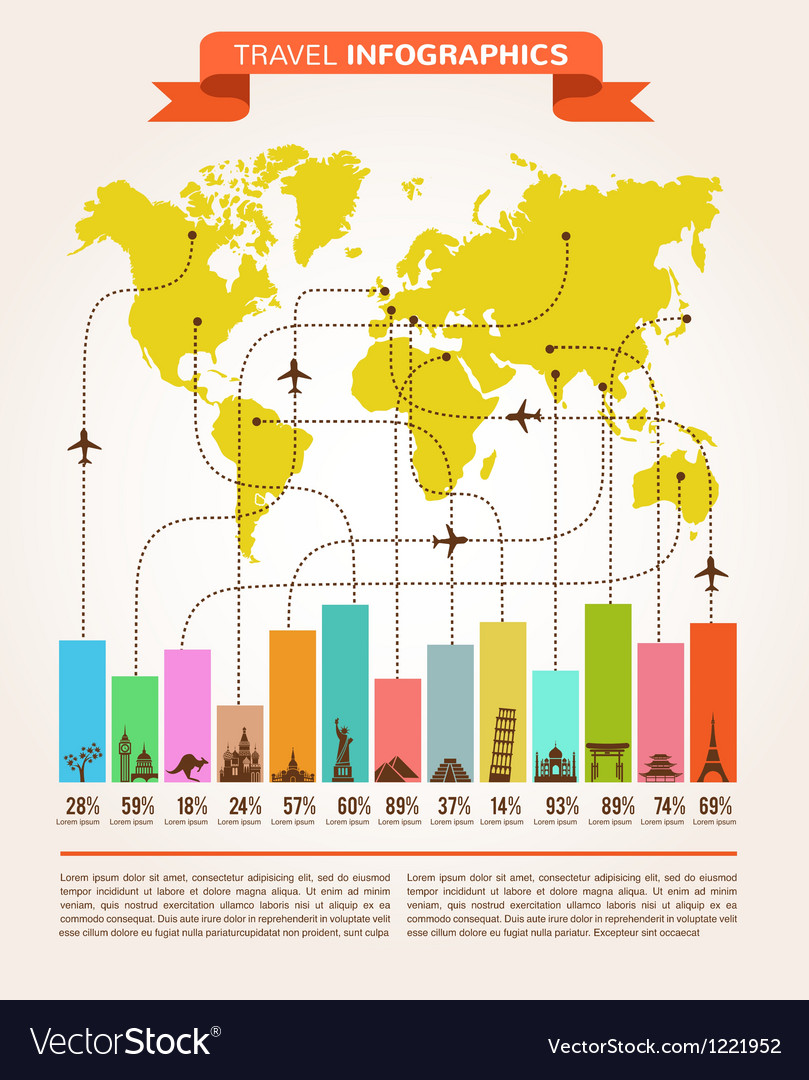 Travel and flight infographics with data icons vector | Price: 1 Credit (USD $1)