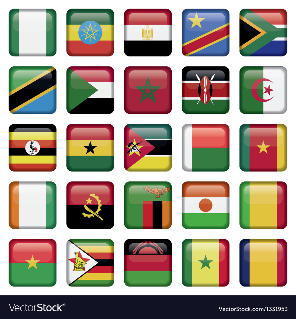 African flags square icons vector | Price: 1 Credit (USD $1)