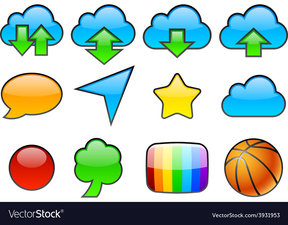 Color glossy icons vector | Price: 1 Credit (USD $1)