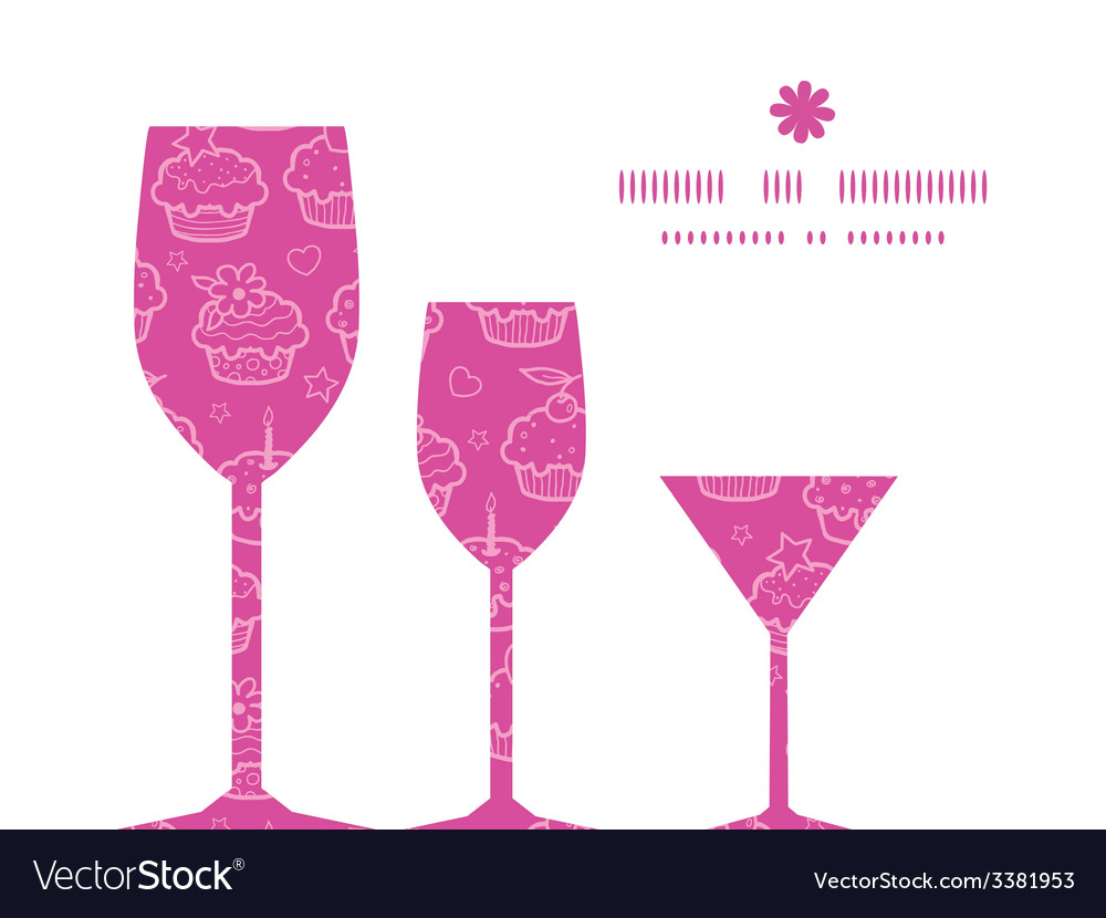 Colorful cupcake party three wine glasses vector | Price: 1 Credit (USD $1)