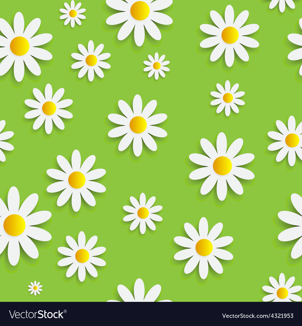 Flora daisy seamless pattern design vector | Price: 1 Credit (USD $1)