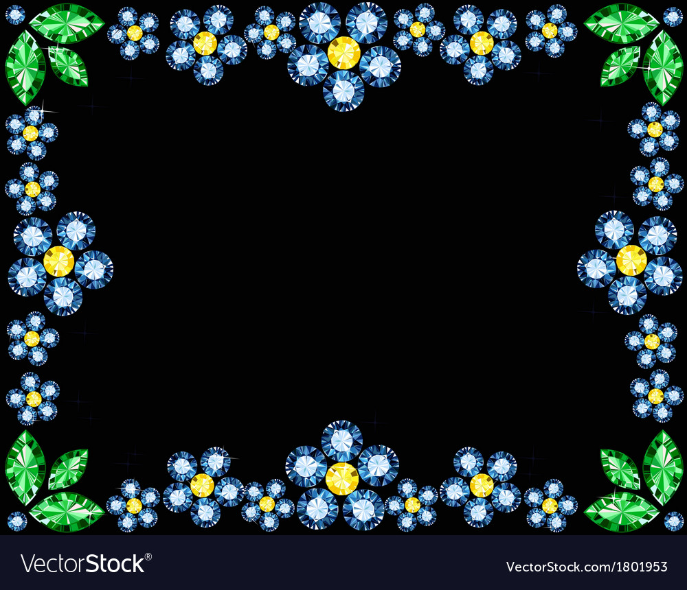 Gem flowers frame vector | Price: 1 Credit (USD $1)