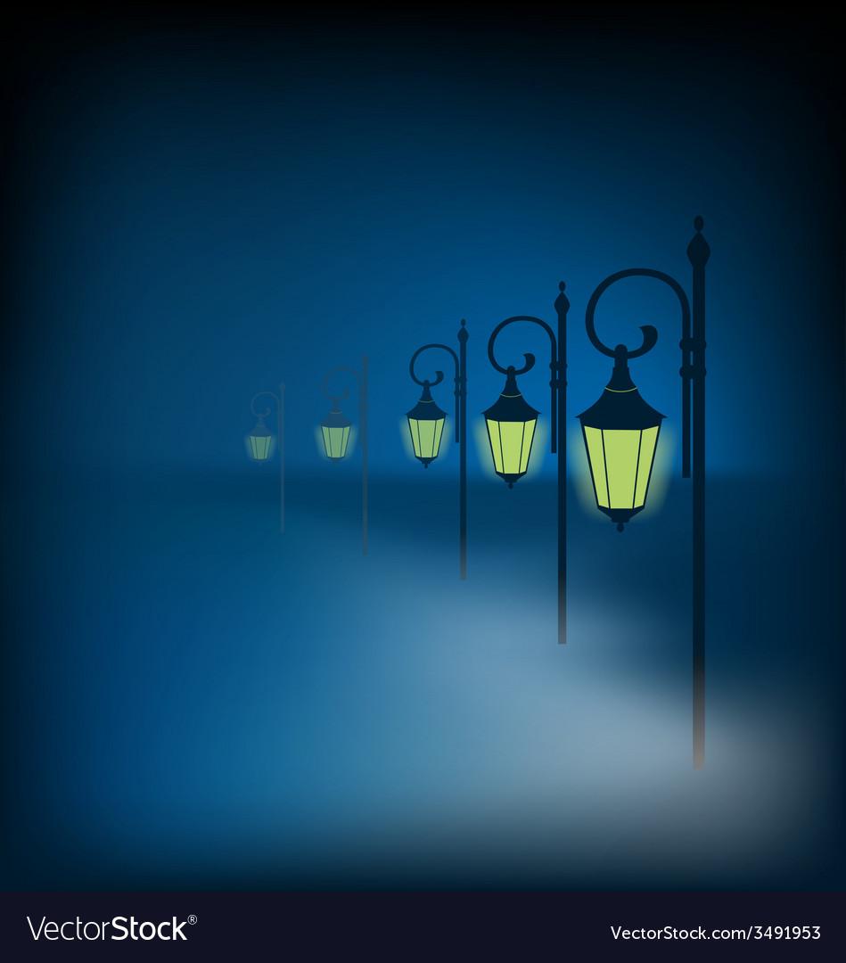Lanterns stand in fog on dark blue vector | Price: 1 Credit (USD $1)