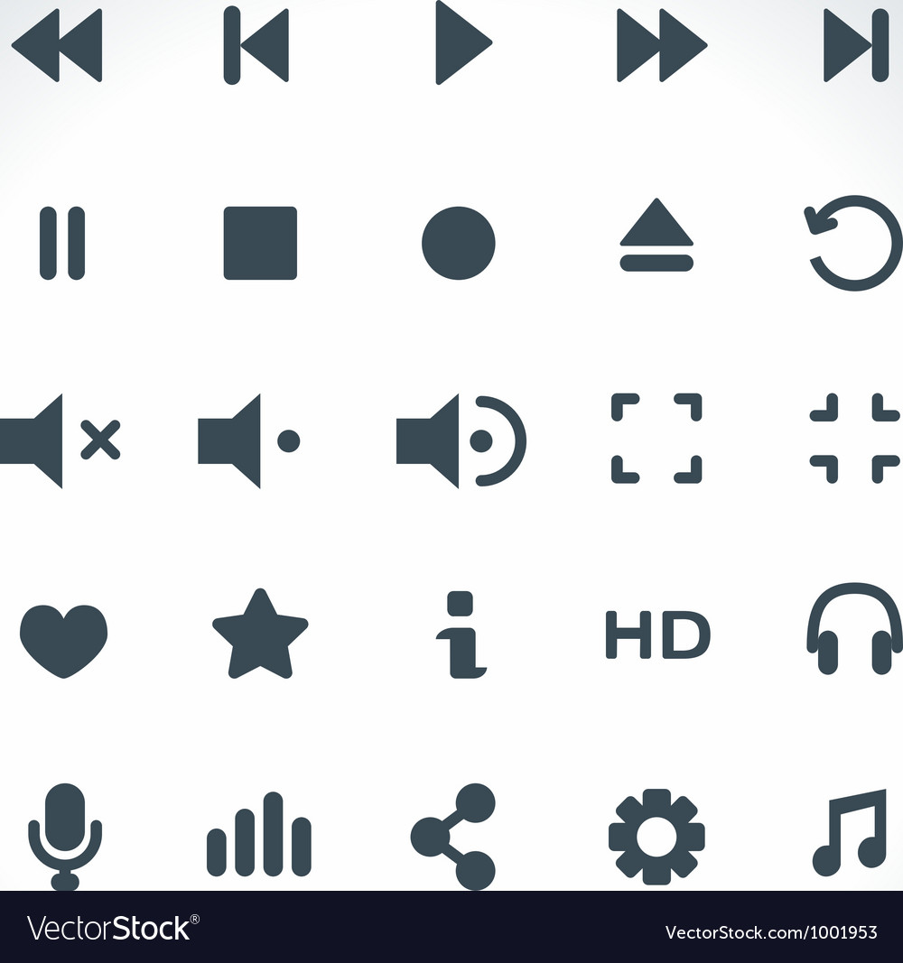 Media player icons set vector | Price: 1 Credit (USD $1)