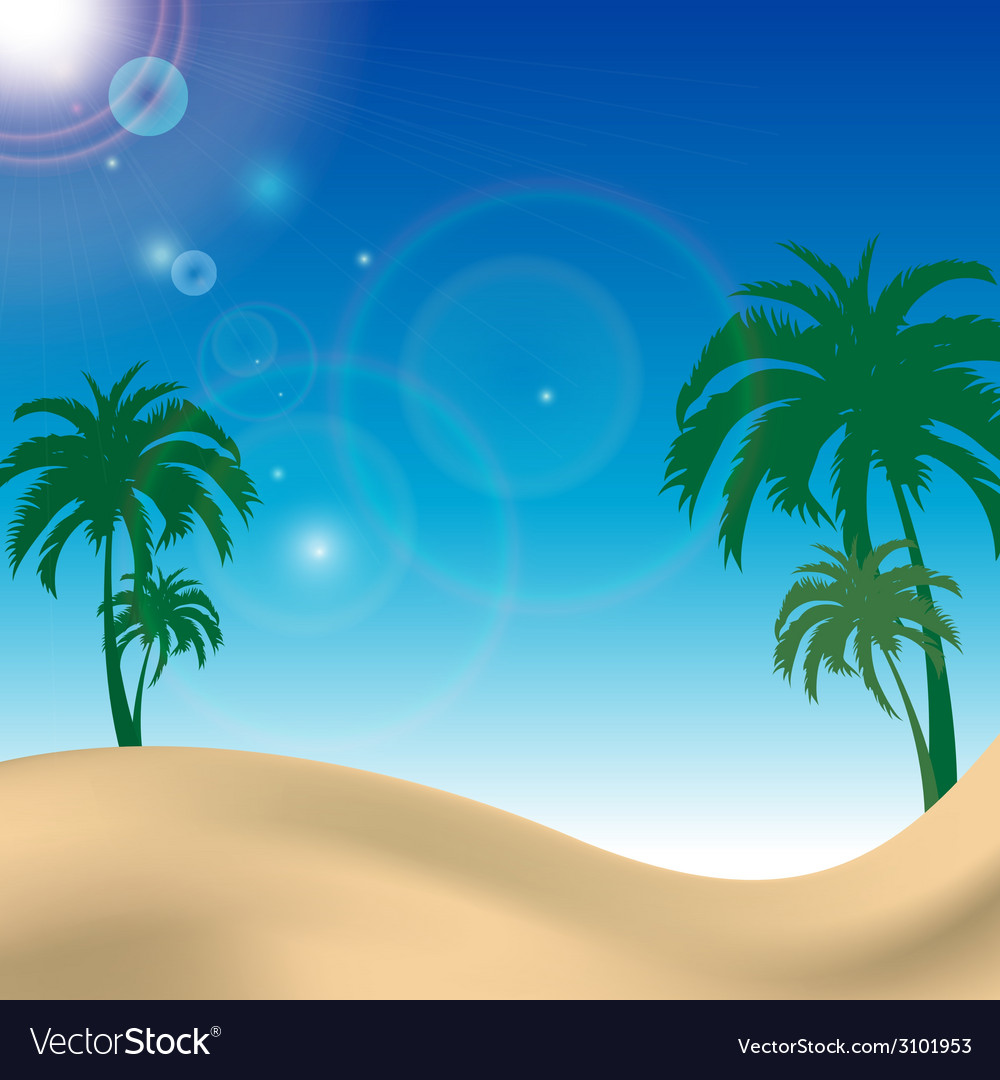 Palm beach landscape with blue sky vector | Price: 1 Credit (USD $1)