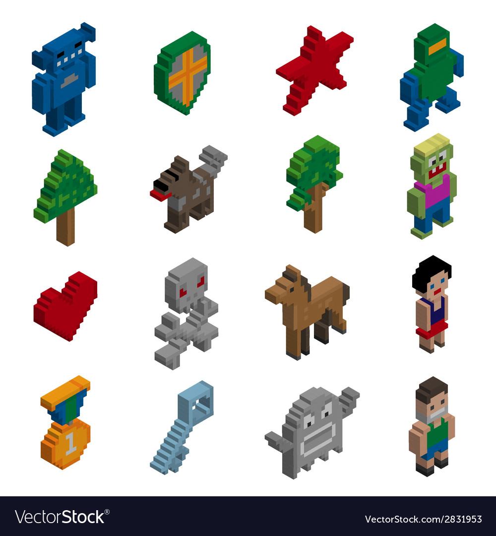 Pixel characters isometric vector | Price: 1 Credit (USD $1)
