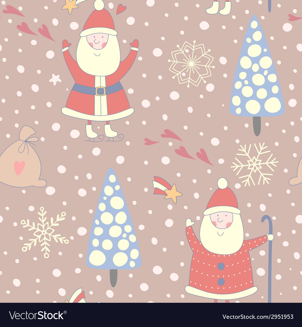 Santa claus seamless pattern vector | Price: 1 Credit (USD $1)