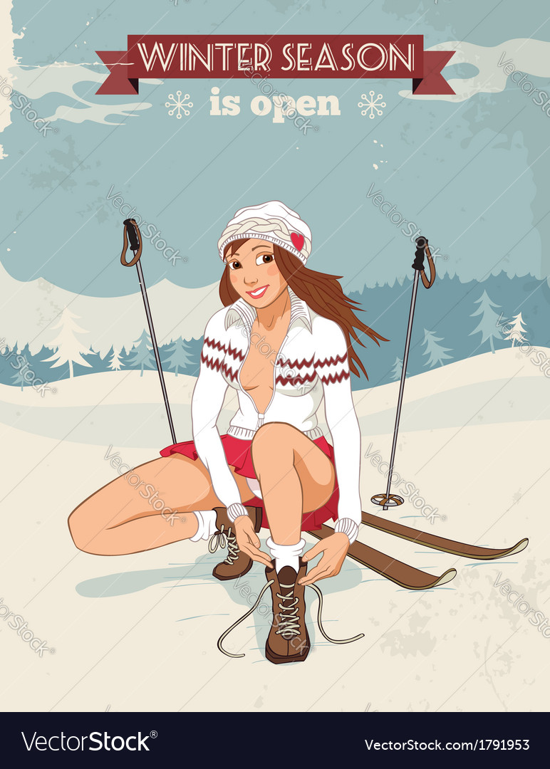 Vintage pin up girl with skis poster vector | Price: 1 Credit (USD $1)