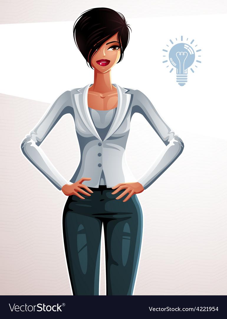 Attractive businesswoman full body portrait vector | Price: 1 Credit (USD $1)