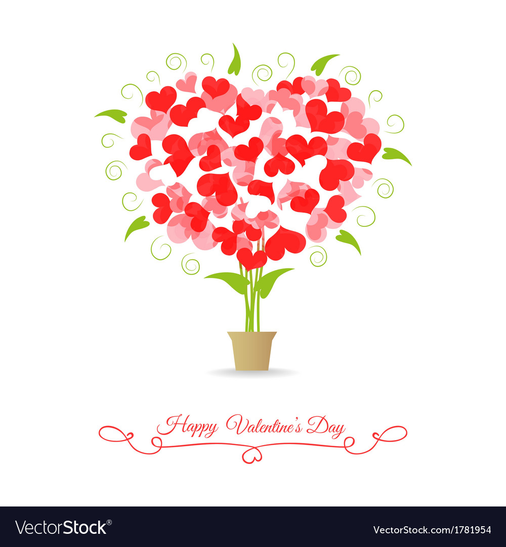 Card happy valentine tree of hearts vector | Price: 1 Credit (USD $1)