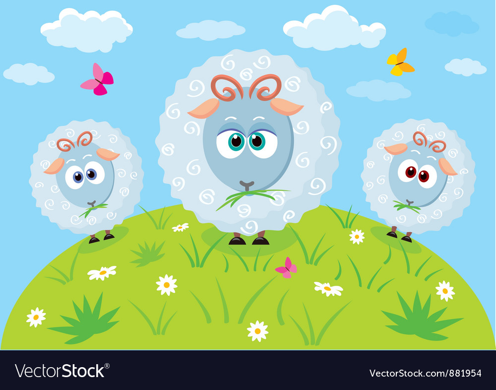 Cartoon lambs vector | Price: 1 Credit (USD $1)