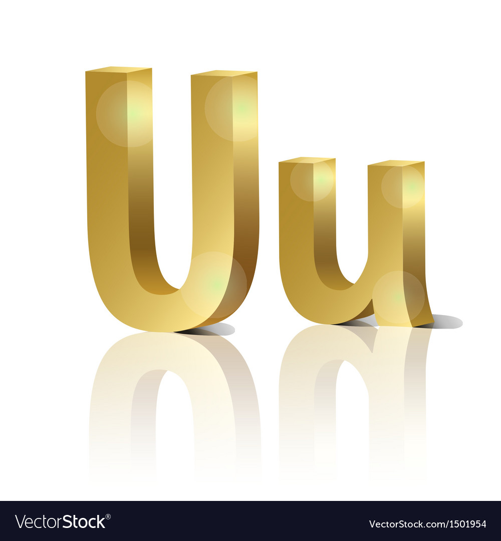 Golden letter u vector | Price: 1 Credit (USD $1)