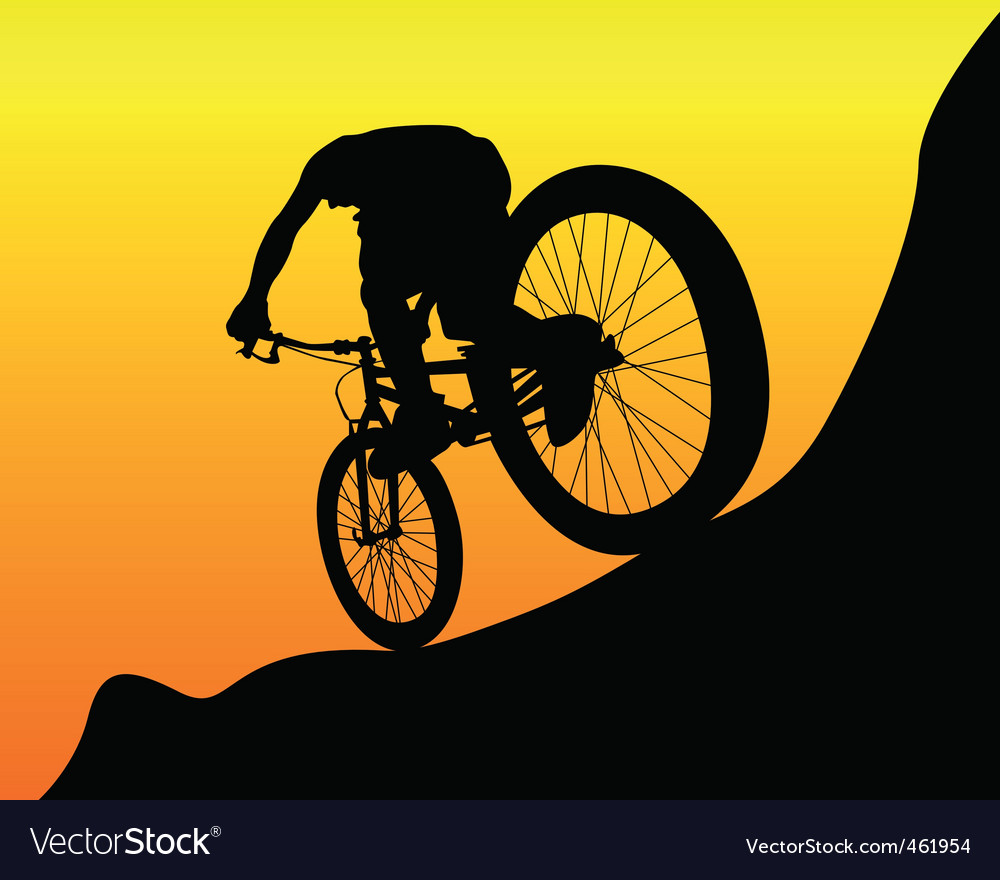 Mountain biker vector