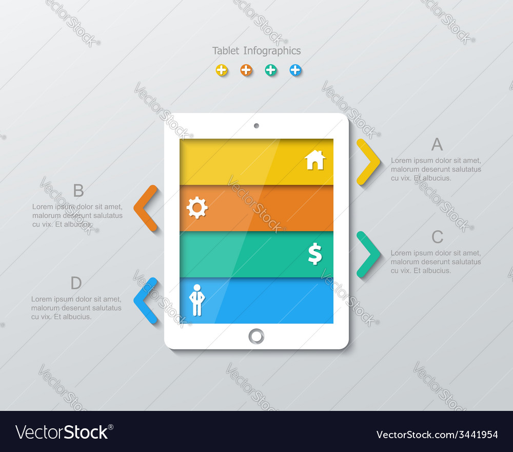 Paper tablet computer infographic vector | Price: 1 Credit (USD $1)