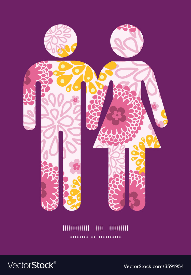 Pink field flowers couple in love silhouettes vector | Price: 1 Credit (USD $1)