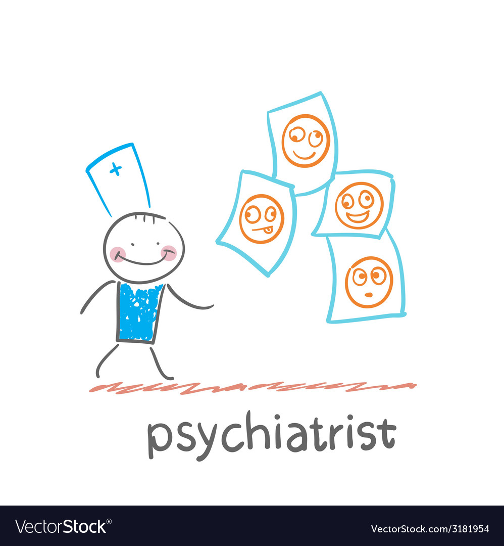 Psychiatrist studying photos of demented patients vector | Price: 1 Credit (USD $1)