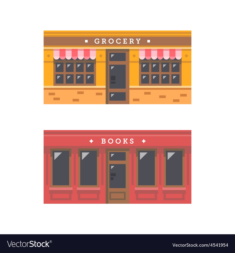Shop front facade flat design vector | Price: 1 Credit (USD $1)